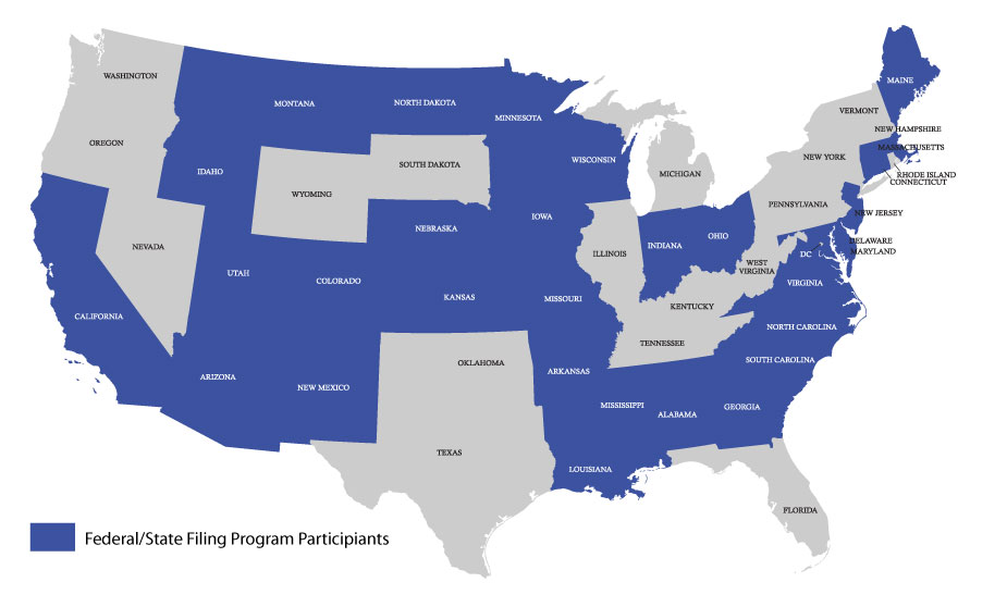 federal state filing program participants map